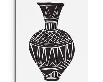 Tall Vase with Patterns - Wall Art - Vase Illustration - Digitally Printed Wall Decor - Giclee Print - Black, Light Brown