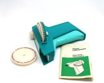 Vintage 1960s Sears Label maker, Dymo plastic tape embosser, turquoise, 2 fonts, drawer labeler, craft tool, office organization, garage
