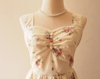 FLORAL DRESS Fairy Wing Low Back Tea Party Dress Back Bow White Sundress Floral Summer Dress Vintage Inspired Dress Alice in Wonderland