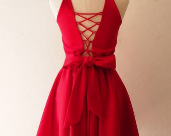 Red Prom Dress Crisscross Dress Scarlet Red Dress Swing dance Dress Knee Party Dress Red Cocktail Dress Red Bridesmaid Dress 2018 Party