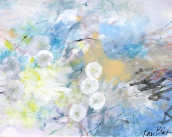 """Intuitive Abstract Mixed Media Painting on Paper, Blue, Dandelions, Wildflowers """"Weather for Wishes"""" 24x18"""""""