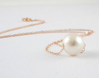 Floating Freshwater Single Pearl Rose Gold Necklace