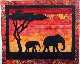 Mother & Calf Elephant Sunset Quilted Batik Wall Hanging / Art Quilt, Pattern or Kit Handmade by PingWynny