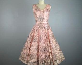 Vintage 1950s Pink Tulle Ribbon Dress 50s Full Circle Skirt Cocktail Dress with Belt Size M 27W