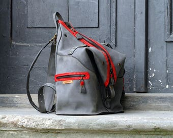 leather handmade backpack / bag shoulder bag ladybuq Gray/ Red