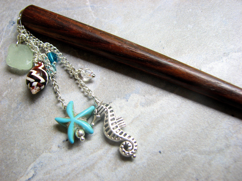 Turquoise Beach Hair Stick, Sea Glass Hair Accessories, Starfish, Seahorse, Sea Shell Hairstick, Wood Hair Pick, Wood Shawl Stick,