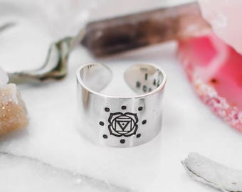 Root Chakra ring with hidden message in sterling silver, wide band chakra ring, spiritual ring, yoga gift for her, chakra jewelry