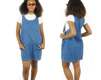 ON SALE Denim 90s Route 66 Overalls Jumper Dress, 90s Oversized Pocket Dress, 90s Grunge Baggy Jean Dress, Women's Size Large
