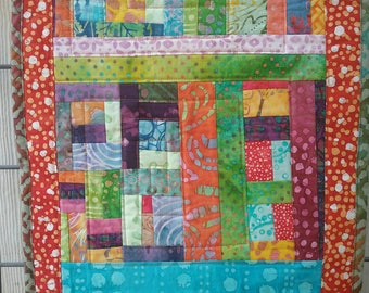 Table runner one of a kind quilted with real batik cotton OOAK runner or wall hanging bright summer spring modern quilting lots of stitching