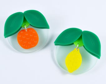 Oranges and Lemons brooches. Acrylic fruit brooches.