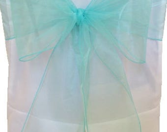 Chair Sashes Tiffany Blue ,  Wedding Chair Sashes Corporate Events  Chair Bow,  Organza Pew Bows.  Party Bows Event