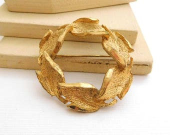 Vintage Signed Cathe Gold Tone Autumn Harvest Leaf Wreath Brooch Pin OO49