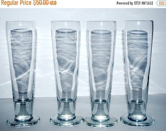 weekend sale Vintage pilsners set of 4 blown glass beer glasses awesome champagne glasses