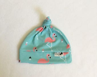 Blue Flamingo Knotted Baby Hat