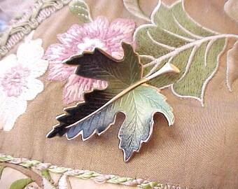 Pretty Vintage Enameled Maple Leaf Brooch in Pretty Shades of Green
