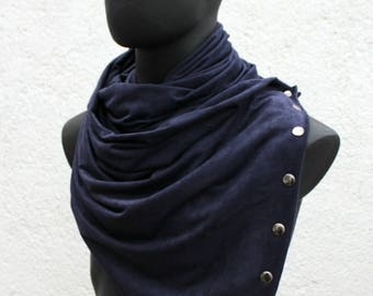 Mens and Womens Infinity scarf,metallic snaps,Vegan cowl, hoodie,navy blue FAUX SUEDE, cowboy style, super soft and cozy. gift for men,women