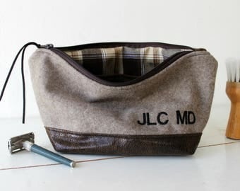 Toiletry bag,embroidered monogram,mens shaving bag,dopp kit,Faux suede & capuccino brown wool.Makeup puch.gift for men,groomsmen gift, women
