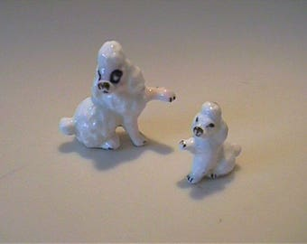 Vintage 1960's miniature bone china white mama poodle and puppy
