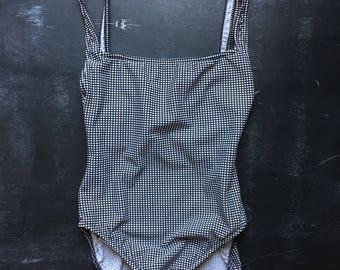 Vintage Calvin Klein black & White Grid Pattern one piece swimsuit