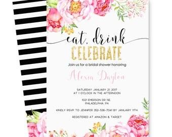 Mod Floral Bridal Shower Invitation Gold - Black Stripe - Spade Wedding - Eat & Drink Invite - Bubbly Celebration - Printable - Print (KATE)