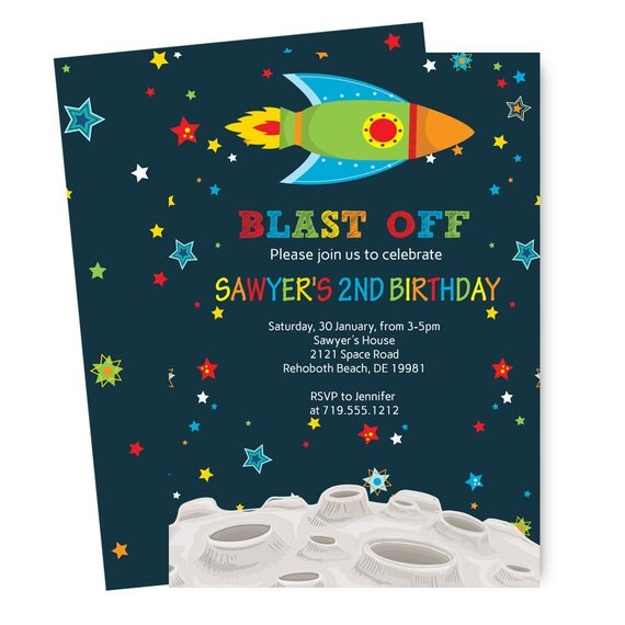 Blast Off Birthday Party Invitations Boys Vibrant Stars Space – Rocket Ship Birthday Invitations