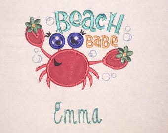 Children's Toddler Beach Babe Crab with Personalized Name on a Short or Long Sleeve White T-Shirt