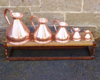 ANTIQUE COPPER JUGS - Set of Scottish Pub Drinks Measures with Pre 1878 Excise Stamp - 1 Gallon, 1/2 Gallon, 1 Quart, 1 Gill & 1/4 Gill