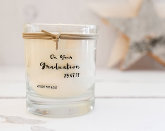 Personalised Graduation Scented Candle, Congratulations Gift, Graduation Gift, Well Done Gift, Well Done Candle,