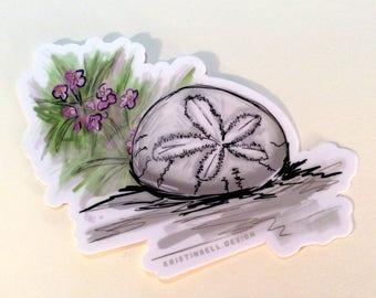 Beach/Ocean Memento Sand Dollar and Flowers Die Cut Vinyl Weatherproof Sticker