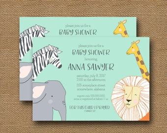 Safari Baby Shower Invitation | Vintage Jungle Animal Shower | Gender Neutral Shower | Religious, Scripture Verse Invitation | DIY PRINTABLE