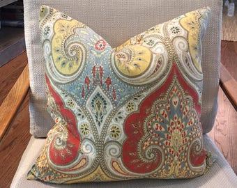 Red, Yellow, Blue and Tan Damask Paisley Pillow Cover / Designer Kravet Latika Festival / Handmade Custom Home Decor Accent Pillows