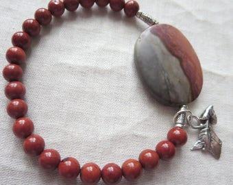 Matte Landscape Polychrome and Red Jasper Stretch Sterling Silver Charm Bracelet