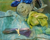 Hope Jacare Creative Textiles Hand dyed silk fabric and ribbon pack  - Magsm2
