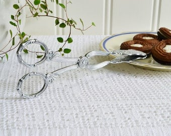 Pastry and sandwich tongs, vintage cookie server, chrome plate serving utensil