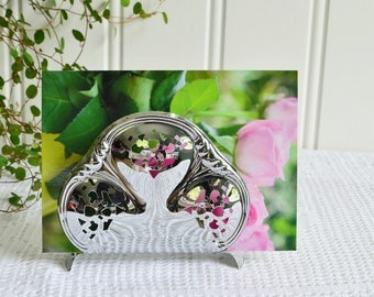Napkin rack, vintage Swedish pierced serviette and card holder, chrome plate