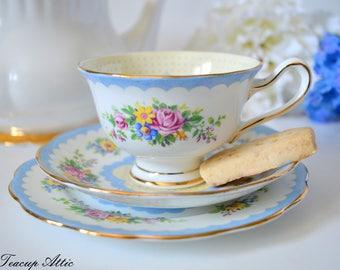 Royal Albert Crown China Blue Prudence Teacup Trio, English Bone China Tea Cup And Saucer Trio, ca. 1927-1935