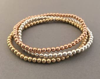 Beaded Ball Bracelet in Gold Fill, Rose Gold Fill, or Sterling Silver