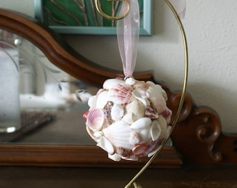 Seashell ball - pink decorative ball - kissing ball - wedding decor - Christmas ornament - coastal decor