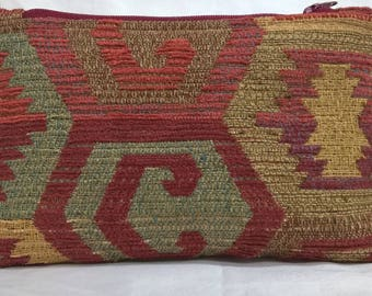 Earth Friendly~Green~Environmentally Friendly~Recycled~Cosmetic Bag~Chenille~Fully Lined~Native American~Aztec~Henna~South Western