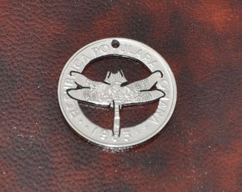 Dragonfly. Cut coin pendant necklace charm. Genuine recycled Romanian circulated leu coin.