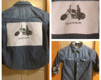 """Upcycled Denim Shirt, Boys Size 6, Bleached Denim with Back Art, Recycled """"Bad L'il Dude"""" T Shirt, Motorcycle Lover, Distressed Denim"""