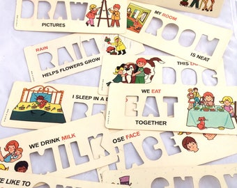 Vintage Fisher Price Stencil Cards, Fisher Price School Days Desk Stencil Replacements, Set of 11, Vintage 1972 Fisher Price Accessory