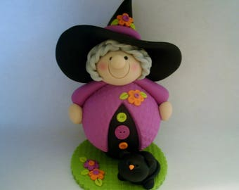 Large Witch - Black Kitty Cat - Polymer Clay -  Halloween - Figurine
