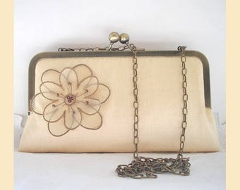 Wedding clutch bag with shoulder chain in cream silk with floral corsage and Swarovski crystals, bridal purse, optional personalisation