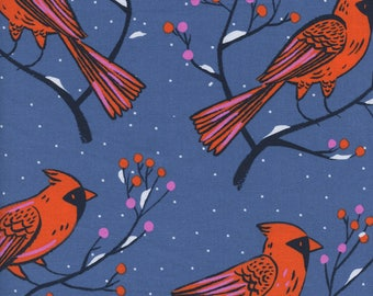 PRESALE - Frost - Winter Cardinals in Blue - Cotton + Steel Collab - 5185-001 - Half Yard