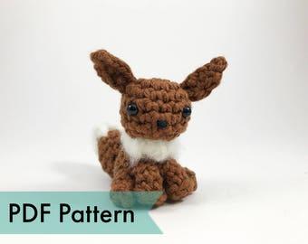 PDF Pattern for Crocheted Eevee Amigurumi Kawaii Keychain Miniature Doll Plush