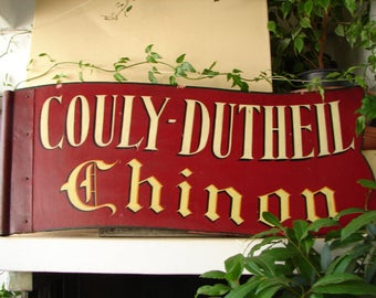 vintage French,wooden shop sign,original,handpainted vineyard banner, two sided,wood & iron plaque