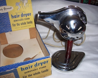 Vintage 1950's Handy Hannah Electric Hair Dryer with Removable Stand and Original Box...Hot/Cold Works Great..995-C..Mid Century Hair Dryer