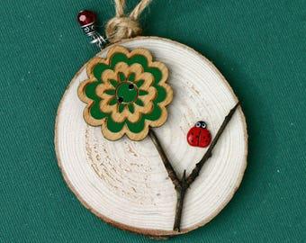 Wood slice ornament, flower and ladybug, birch slice, art on wood, tree slice, handmade, natural, wood button, round