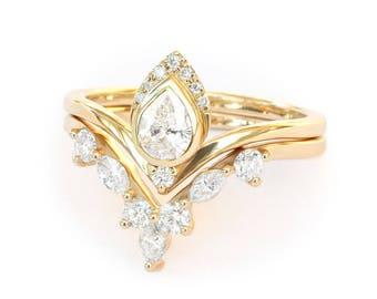 3/4 Ct Diamond Bridal Set, 1/4 ct Pear Diamond Engagement Ring+Matching Wedding Ring Marquise Diamonds, Pear Ring & Side Band Diamond Rings